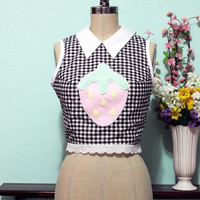 Collared Fluffy Strawberry Gingham Crop Top - Made To Order Size XS S M L XL XXL