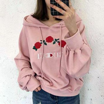 GUCCI Hot Sale Embroidery Rose Flower Blouse loose type Hoodie Sweatershirt Pink
