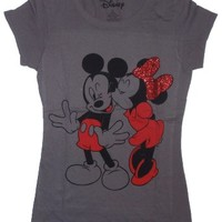 Disney Women's Mickey Minnie Mouse Kiss Licensed Graphic T-Shirt