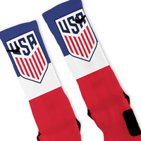 New USMNT Soccer Crest Custom Nike Elite Socks