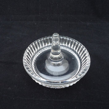 Vintage Cut Glass Ring Holder , Clear Glass Ring Holder, Clear Glass Jewellery Dish, Ring Dish