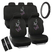 Licensed Official New Neon Green Purple Butterfly Butterflies Car Front Back Full Seat Covers