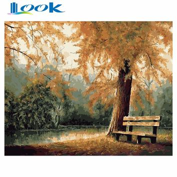 Diy Oil Painting By Numbers Autumn Park On Canvas Landscape Euro