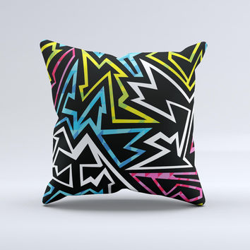 The Crazy Retro Squiggles V1 ink-Fuzed Decorative Throw Pillow