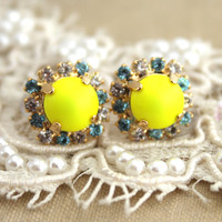 Yellow Neon Stud earring white and Blue Rhinestones  Summer - 18k plated gold post earrings real swarovski rhinestones.