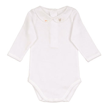 Peter Pan-Collar Cotton Bodysuit, Size Newborn-18 Months, Size: 6M,