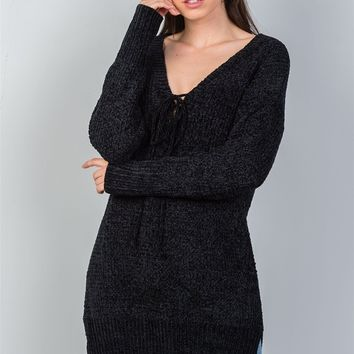 Ladies fashion black keyhole choker sweater dress