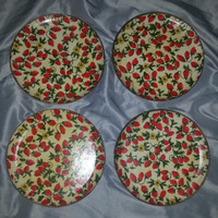 Vintage 1970s Set of 4 Hand Painted ISCO Wood Strawberry Plates - Home Decor -