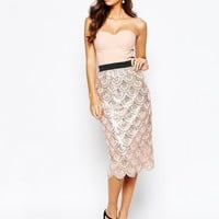 Rare London 2 In 1 Sequin Midi Dress With Scalloped Hem at asos.com