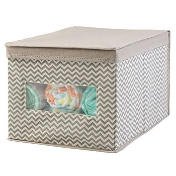 mDesign Chevron Fabric Baby Nursery Closet Organizer Box for Clothing, Blankets, Towels, Bibs - Large, Taupe/Natural
