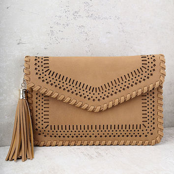 Send Off Tan Woven Clutch