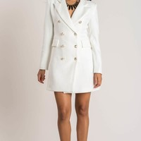 Kira White Double Breasted Coat Dress