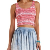 Strappy-Back Tribal Print Crop Top by Charlotte Russe