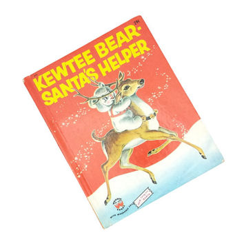 Kewtee Bear Santas Helper 1956, Vintage 1950's Childrens Christmas Story Book, Kitsch Christmas Illustrations, Wonder Books