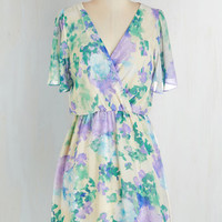 Pastel Mid-length Short Sleeves A-line For the Love of Monet Dress