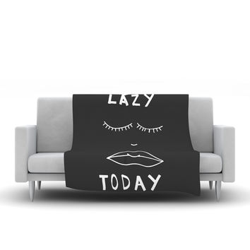 "Vasare Nar ""Lazy Today Grey"" Typography Gray Fleece Throw Blanket"