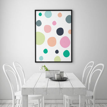 Dots Print, Nursery Decor, Dot Art, Colorful Dot Pattern, Nursery Wall Art, Modern Home Decor, Nursery Wall Art, Kids Poster, Nursery Print.