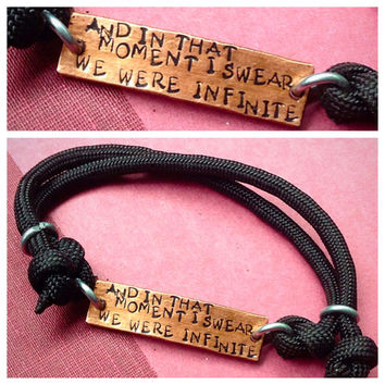 And in that moment I swear we were infinite (book quote) hammered hand stamped copper cord slip bracelet
