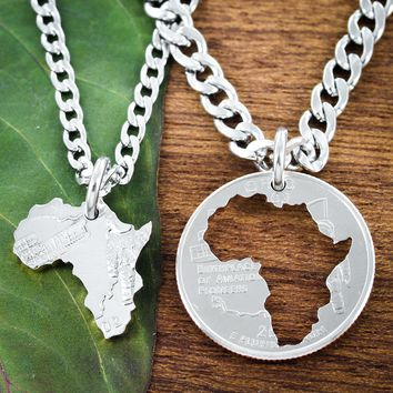 Africa Continent Friends Or Couples Necklaces
