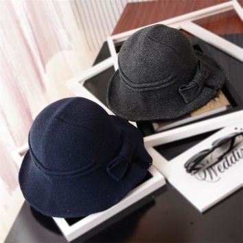 BCK003 Fashion Autumn Knitted Hat Winter Women Bowknot Decoration Bucket Hat Fisherman Caps With Flounce Brim