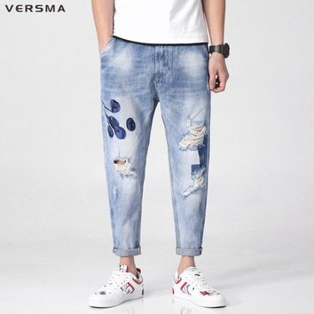 VERSMA 2018 Vintage Embroiderey Ripped Stretch Skinny Jeans Men Designer Slim Fit Denim Joggers Biker Jeans Pants Overalls Men