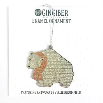 Merrily Polar Bear Enamel Ornament