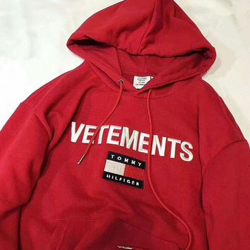 CREY5N1 Tommy Hilfiger x Vetements Women Embroidery LOGO Hot Hoodie Cute Sweater