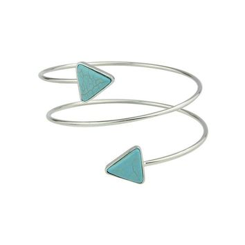 Turquoise Blue Pendant Upper Arm Silver Bracelet Armband | Cara Collection