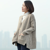 Cable Knit Solid Pockets Loose Dropped Shoulder Sweater