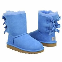 UGG Australia Girls Bailey Bow Shearling Boot Blue Sky Size 4