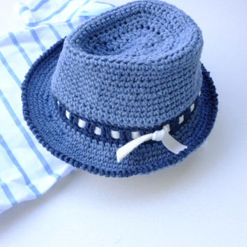 63b86dfbfff Baby Boy Fedora Hat Toddler Crochet Cotton Summer Hat Denim Fedora Newborn  Photo Props Baby Shower