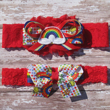 Rainbow Brite Garter Set | Rainbow Brite Wedding Garters | Bridal Garter and Toss Garter | Choice of Lace Color
