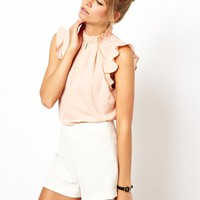 ASOS Sleeveless Top with Frill Trim Collar -