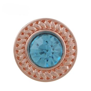"Snap Charm Rose Gold Border Turquoise Crystal 12mm Mini Size 1/2"" Diameter Fits Ginger Snaps"
