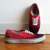 Blood red ombre Vans Authentic sneakers, upcycled vintage shoes, size US Men's 9 (US Wo's 10.5, UK 8, eu 42)