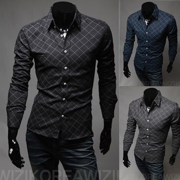 Hot Sale Classics Men Casual Slim Long Sleeve Men's Fashion Shirt [6544489731]