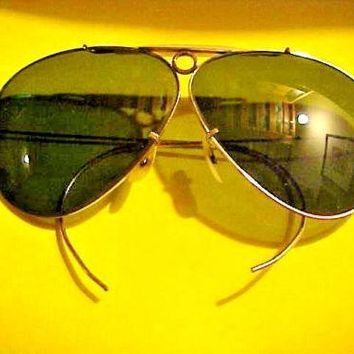 1950s BAUSCH & LOMB RAY BAN 1/20 10k Gold Filled Aviator Shooter's Sunglasses