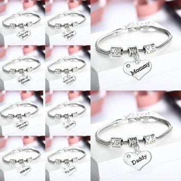 Dad Mom Nana Family Gifts Bracelet Niece Sis Sister Women Jewelry Bangle Father's Mother's Day Friend Birthday Charm