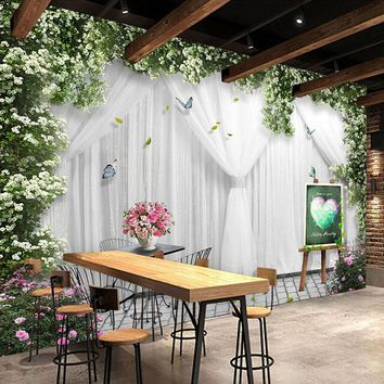 Custom Mural Wallpaper 3D Rose Curtain Wedding House Theme Hotel Restaurant Backdrop Wall Papers For Walls 3 D Papel De Parede