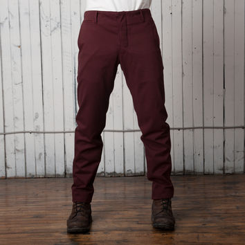 The Slim Casual Trouser   Maroon Twill