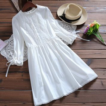 New Japanese Mori Girl Lace Embroidery White Princess Dress Kawaii Lolita Sweet High Waist Party Dress Robe Women Spring Dress