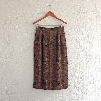 Vintage 1980s Talbots Brown Pleated Skirt - High Waist Retro Design with Front Side Pockets - Made in Malaysia