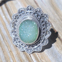 925 Sterling Silver Emerald Druzy Ring Size 6
