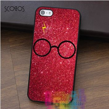 SCOZOS Harry Potter Glasses Sugar Glitter phone case for iphone X 4 4s 5 5s 5c SE 6 6s 6 6s 6 plus 6s plus 7 7 plus 8 8 plus