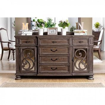 Retro Style Wooden Server With 6 drawers, Rustic Brown