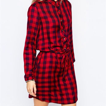 Summer Women's Fashion Plaid Blouse [6513078023]