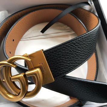 Authentic New Gucci Double GG Reversible leather Belt Size 100cm 34-36 Waist