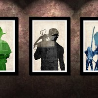 Walking Dead 3 Pack - Rick, Daryl and Michonne - Original Art Poster Prints - 13x19 | redditgifts
