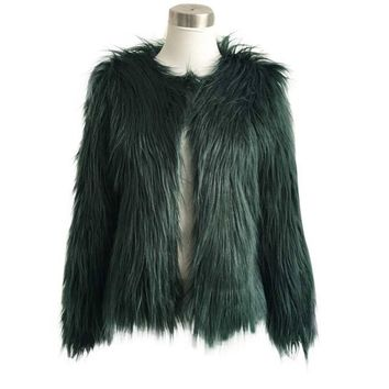 Winter Women Coat Plus Size 3XL Warm Faux Fur Fox Coat Ladies Elegant Winter Outwear Coats Veste Femme#C112