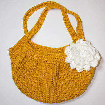 Gold Crochet Hobo Bag